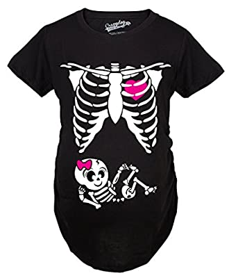 Maternity Baby Girl Skeleton Cute Pregnancy Bump Tshirt (Black)