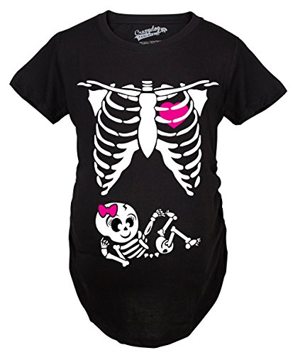 Crazy Dog T-Shirts Maternity Baby Girl Skeleton Cute Pregnancy Bump Tshirt (Black) -L