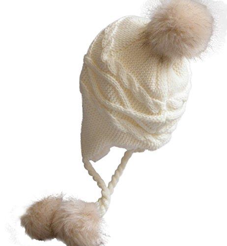 (Sumolux Soft Warm Earflap Hood Beanie Hat For Girls Women Knitted Pom Pom Winter Hats)