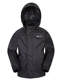 Mountain Warehouse Pakka Kids Rain Jacket - Waterproof, Packable Black 13 years
