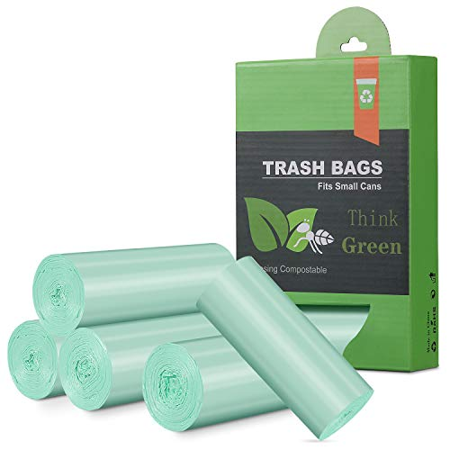 2.6 Gallon Small Trash Bags Garbage Bags, Mini Compostable Trash Bags Bathroom Wastebasket Can Liners, 125Count,Food Scrap Small Kitchen Trash Bags For Bedroom Office Fit 10 Liter,Green