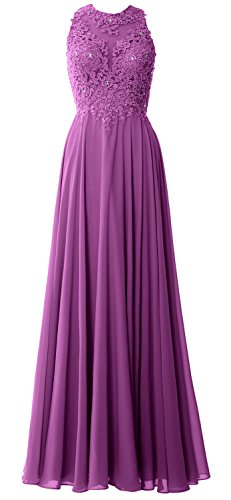 MACloth Elegant High Neck Long Prom Dress Lace Chiffon Formal Party Evening Gown Sangria