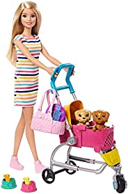 Barbie Stroll 'n Play Pups Playset with Blonde Doll (11.5-inch), 2 Puppies, Pet Stroller and Accessories, Gift