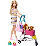 Barbie Stroll 'n Play Pups Playset with Blonde Doll (11.5-inch), 2 Puppies, Pet Stroller and Accessories, Gift for 3 to 7 Year Olds