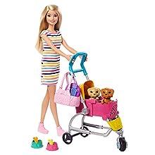 Barbie y su Carrito para Mascotas, Muñeca Rubia con accesorios y perritos (Mattel GHV92)