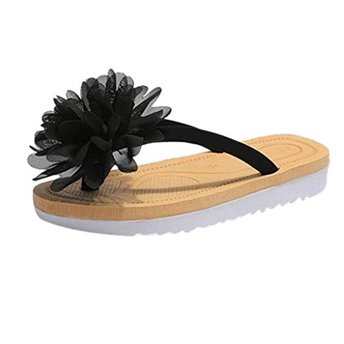 Platform Sandals for Women Madden,FAPIZI Ladies Beach T-Strap Shoes Female Slippers Fashion Flower Flip Flop Black ()