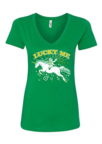 St. Patrick's Day Lucky Me! Irish Unicorn Funny Women's V-Neck T-Shirt XXL/Junior Fit/Kelly Green ()