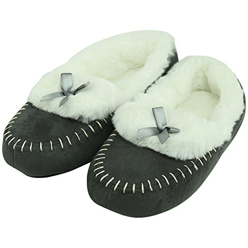 Forfoot Womens Ballerina Slippers Indoor With Non Slip Soft Sole Grey 50s7AFwHy