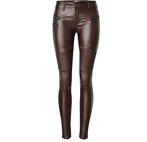 Faux Leather PU Denim Pants For Women Sexy Stretchy Leggings Slim Fit Trousers Brown (Brown Leather Pants)