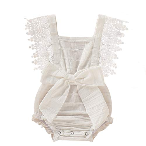 WOCACHI Toddler Baby Girls Clothes, Newborn Infant Baby Girl Boy Solid Lace Bow Romper Bodysuit Clothes Outfits Infant Bodysuits Rompers Clothing Sets Christening Short Sleeve Organic Cotton 0-3T -