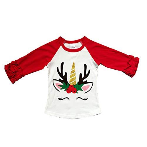 Baby Kids Girl Unicorn Thanksgiving Halloween Pumpkin Car Print Ruffle Polka Dot Long Sleeve Cotton T-Shirt Top Outfits (Red-1, 2T)