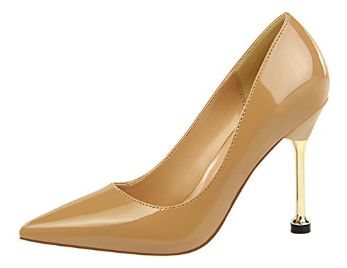 Aisun Womens Simple Professional Burnished Low Cut Dressy Pointed Toe Stiletto High Heel Slip On Pumps Shoes Nude JB6Q2B