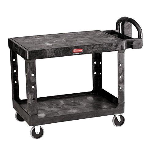 Rubbermaid Black Plastic 2-Shelf Lipped Top Heavy-Duty Utility Cart - 44