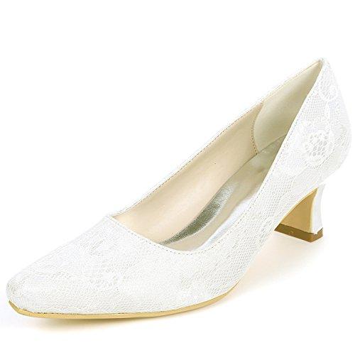 Zapatos 5 Gruesos Tobillo Boda Ivory La Tacones yc Cerrados 5cm Moda De Encaje Dama Las L Mujeres YqZ5n