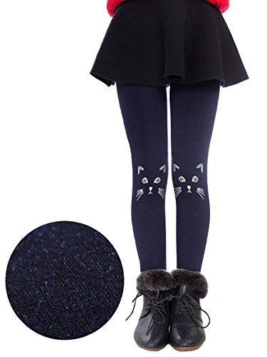 Govc Girls Winter Warm Fleece Lined Elastic Waist Velvet Stretchy Thick Leggings(Navy Cat,M)