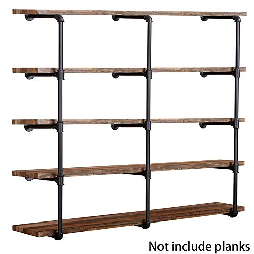 "Industrial Wall Mount Iron Pipe Shelf Shelves Shelving Bracket Vintage Retro Black DIY Open Bookshelf DIY Storage offcie Room Kitchen Shelves (3Pcs,52"" Tall,12"" deep)"