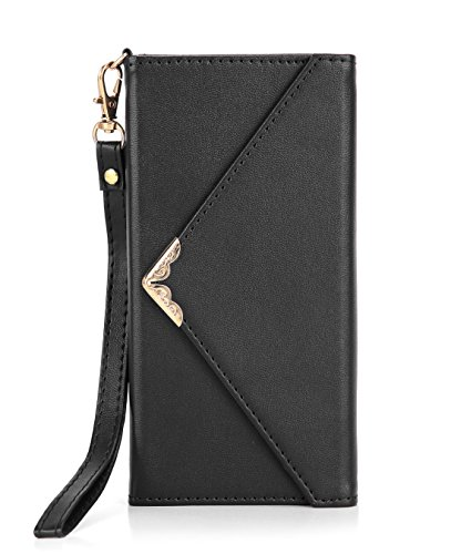 Crosspace Galaxy S7 Edge Wallet Case, Samsung S7 Edge Envelope Flip Handbag Shell Women Wallet PU Leather Magnetic Folio Cover with Card Holders Wrist Strap for Samsung Galaxy S7 Edge 5.5-Black