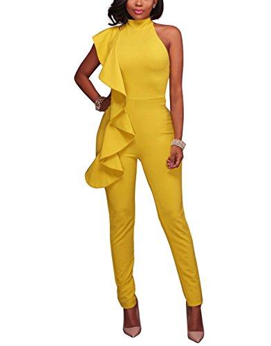 e31a5c6be10 Engood Women s Sexy Ruffle Strapless High Waist Clubwear Long Wide Leg  Pants Jumpsuit Rompers Yellow XL