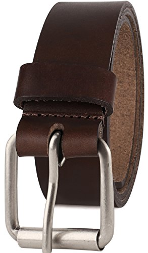 Men's Full Grain One Piece leather Belt, Roller Buckle, 1.5