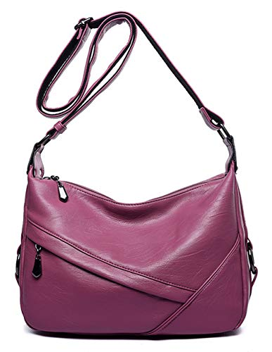(Women's Retro Sling Shoulder Bag from Covelin, Leather Crossbody Tote Handbag Rubber Pink )