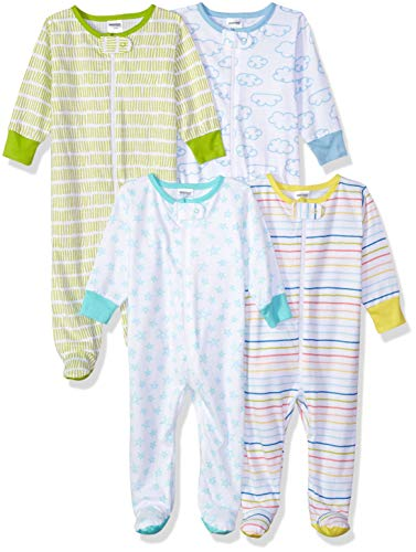 Yellow Footed Sleeper Pajamas - Onesies Brand Baby 4-Pack Sleep 'N Play, Clouds, Newborn