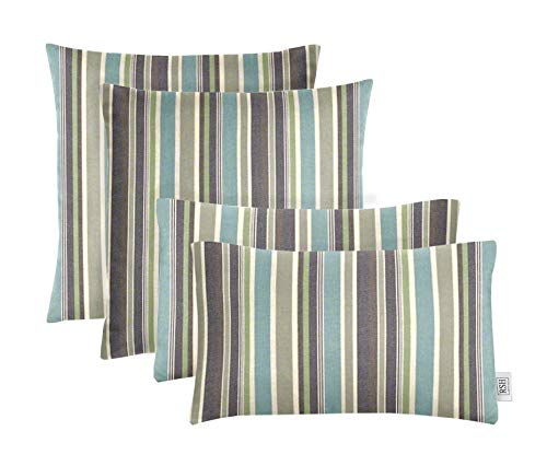 "RSH Décor Set of 4 Indoor/Outdoor Square & Rectangle Lumbar Throw Pillows Made of Sunbrella Brannon Whisper (20"" x 12"" & 17"" x 17"")"