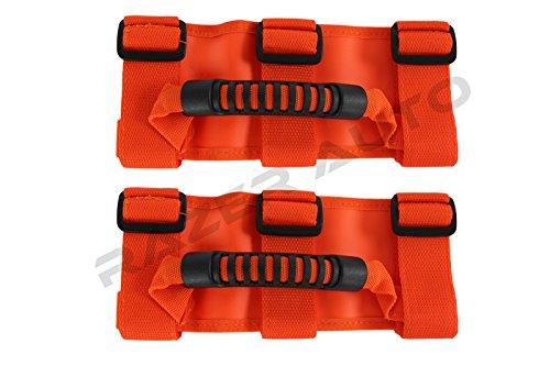 Razer Auto ORANGE Extreme Ultimate Unlimited Roll Bar Side Grab Handle - Pair for 87-16 Jeep Wrangler JK TJ YJ CJ -