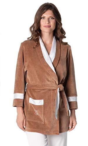 De La Ville Pleasures Women's Short Cotton Plush Robe with Satin Shawl and Crystal Applique (L)