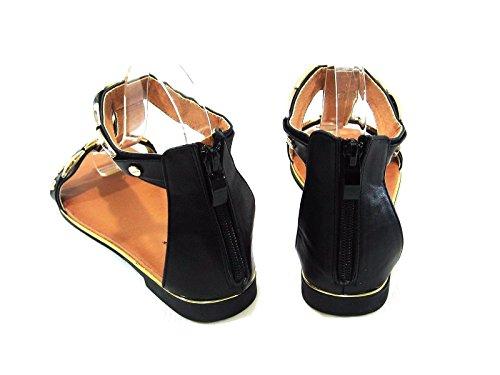 Per Sempre Link Paradise New Women Open Toe Placcato Caviglia T-strap Gladiatore Sandalo Flat Nero Paradise12