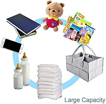 JCWL Multipurpose Baby Diaper Nappy Caddy Organiser Babys Nursery Storage Bin Felt Basket Dividers Newborn Baby Essentials Baby Shower Gifts