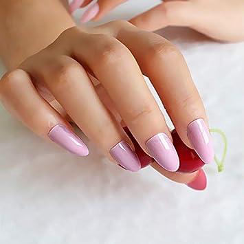 Amazoncom 24pcsset Red Almond False Nail Tips Full Stiletto Nails