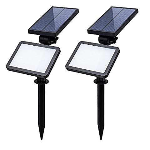 T-SUN 48 LED Solar Floodlights Outdoor Landscape Wall Spotlights Waterproof Adjustable LED Solar Light for Garden, Path, Lawn, Patios Security Flood Light (2 (4x4 Spike)