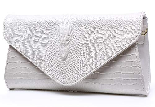 - Bidear Envelope Clutch Purse Genuine Leather Party Handbag Evening Bags for Women (Leather-White)