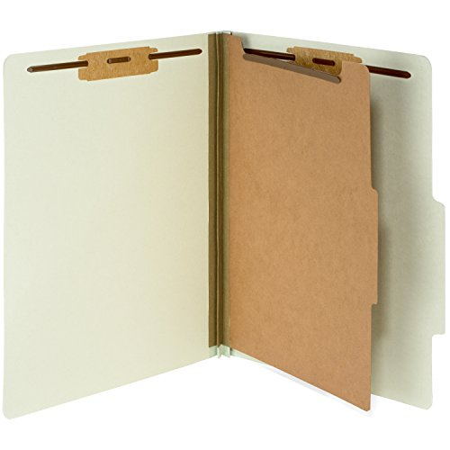 10 Gray/Green Classification Folders- 1 Divider-2'' Tyvek expansions- Durable 2 Prongs designed to organize standard medical files, law client files, office reports– Letter Size, Green, 10 Pack