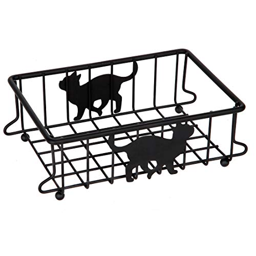 Lily's Home Cat-Themed Wire Basket, Kitchen and Desk Organizer, Cute Caddy for Cat Lovers for Kitchen, Pantry, Cabinet, Bathroom and Office (Small)