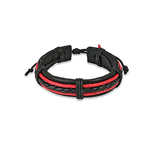 Genuine Black Leather Bracelet with 1 Black Braid and 2 Red Braids Adjustable Size Sliding Tie-Knot Closure (Length 7.48