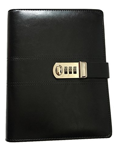 eather 【 Password Notebook with Combination Lock】 Binder note Refillable (black) (Combination Notebook Lock)