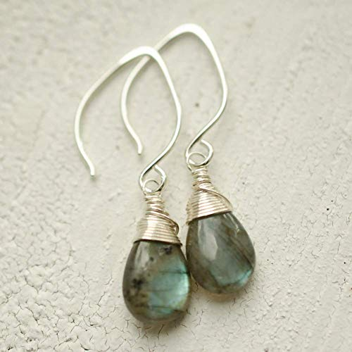 Labradorite Earrings Lotus Ear Wire Sterling Silver