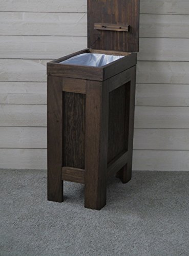 Wooden Wood Trash Bin Kitchen Garbage Can Rectangular 13 Gallon Solid Pine - Walnut Stain - Rustic - Metal Knob - Hand Made in USA by BuffaloWood Shop (Image #2)