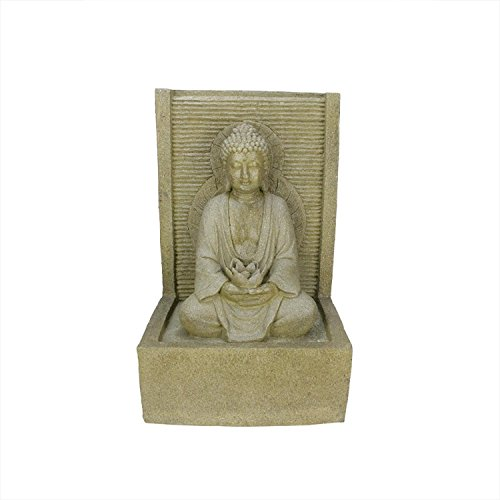 Northlight LED Lighted Praying Buddha Water Fountain Outdoor Patio Garden Statue, 23″