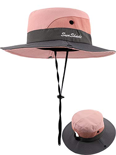 Kids Summer Sun Hat Broad-Brimmed Beach Cap Sun Protection Bucket Hat with Ponytail Hole - Bucket Brimmed Hat