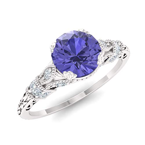 Diamondere Natural and Certified Tanzanite and Diamond Engagement Ring in 14K White Gold | 1.11 Carat SI1-SI2 Quality Art Deco Engagement Ring for Women, US Size 6 (Tanzanite White Jewelry Ring Gold)