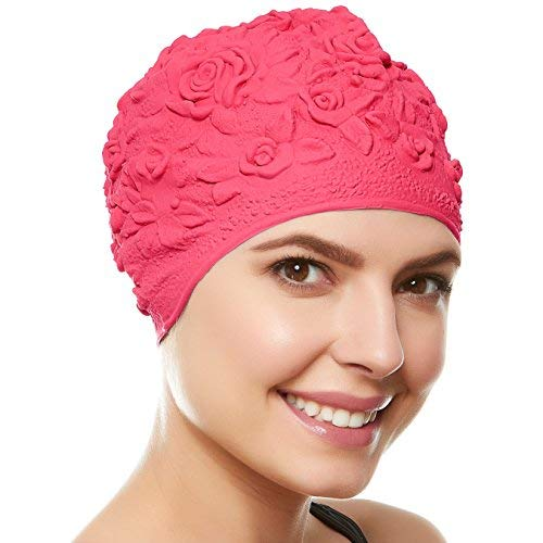 aps for Women/Girls Retro Style Latex with Embossed Flower Pattern Ornament Swimming Hat Long & Short Hair - Hot Pink ()