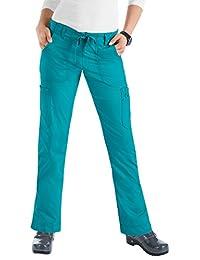 KOI Stretch Women's Lindsey Drawstring Elastic Waist Scrub Pant X-Large Tall Turquoise