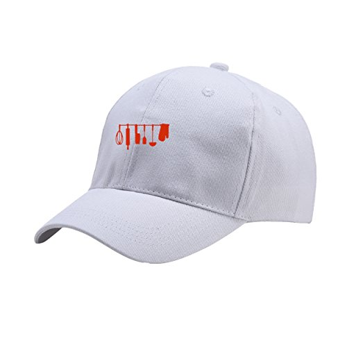 NeeKer Kitchenware White Peaked Hat Embroidered Logo Adjustable Fish ()