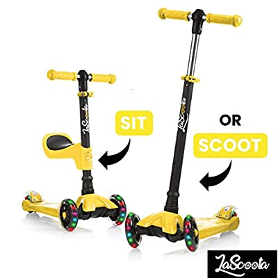 Lascoota 2-in-1 Kick Scooter with Removable Seat Great for Kids & Toddlers Girls or Boys - Adjustable Height w/Extra-Wide Deck PU Flashing Wheels for Children from 2 to 14 Year-Old from Lascoota