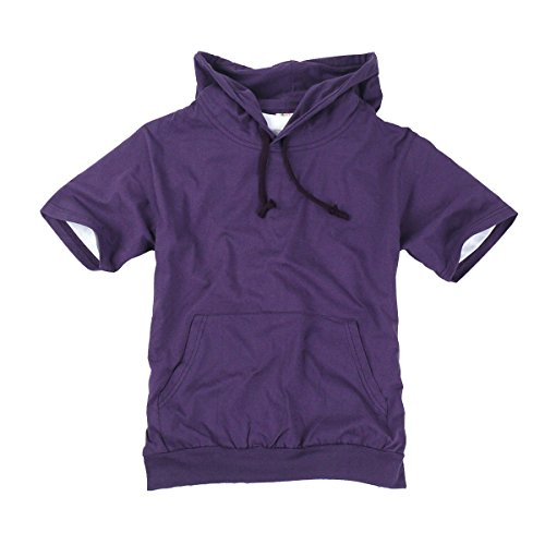 (myglory77mall Mens Short Sleeve Basic Light Cotton 100% Hooded Tshirt Top Tee Hoody Hoodie US L(2XL tag) Purple)