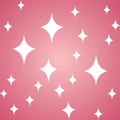 """RETRO STARS STENCIL (size 5""""w x 5""""h) Reusable Stencils for Painting - Best Quality Scrapbooking Valentines Idea - Use on Walls, Floors, Fabrics, Glass, Wood, Cards, and More… - Large Star Stencil"""