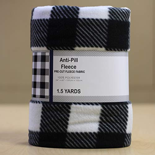 Buffalo Plaid Black & White Anti-Pill Fleece Fabric Pre-Cut (1.5 - Plaid Black Fleece