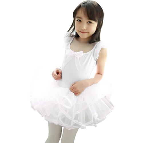 LaLaMa Kids Girls Short Sleeve Tiered Tutu Ballet Party Dresses 3-4Y